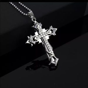 Men's 3-D multiple layer black and silver cross